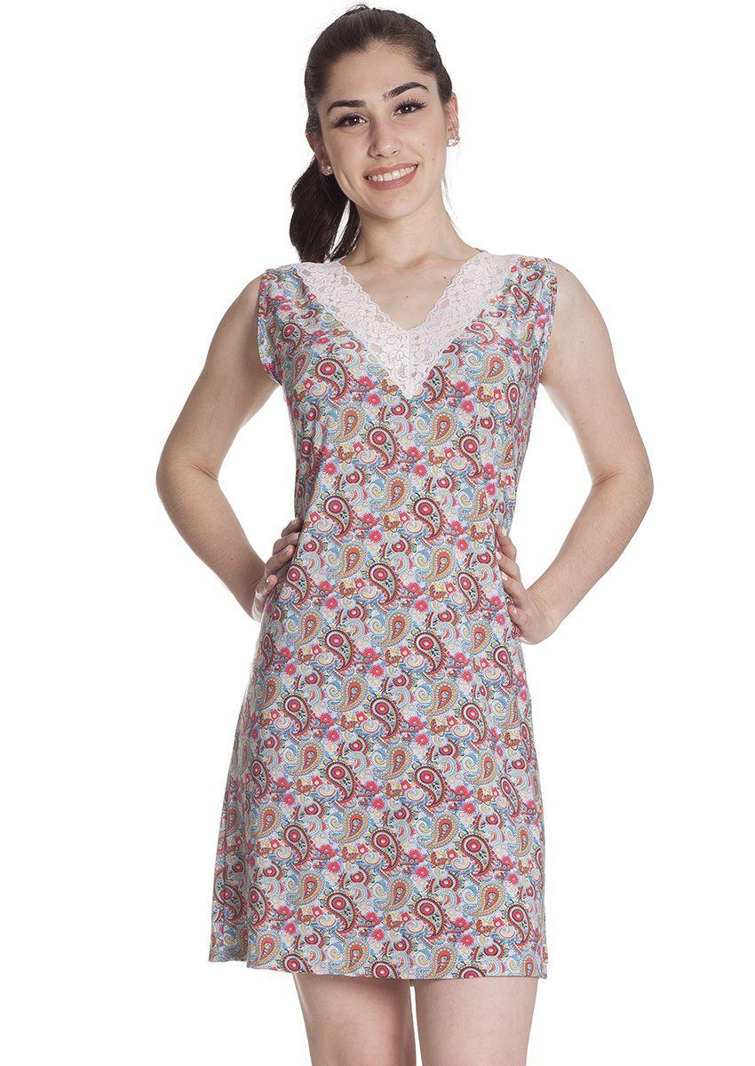 df84ee984 Camisola Feminina Plus Size Liganete Estampada com Detalhe em Renda Abstrato