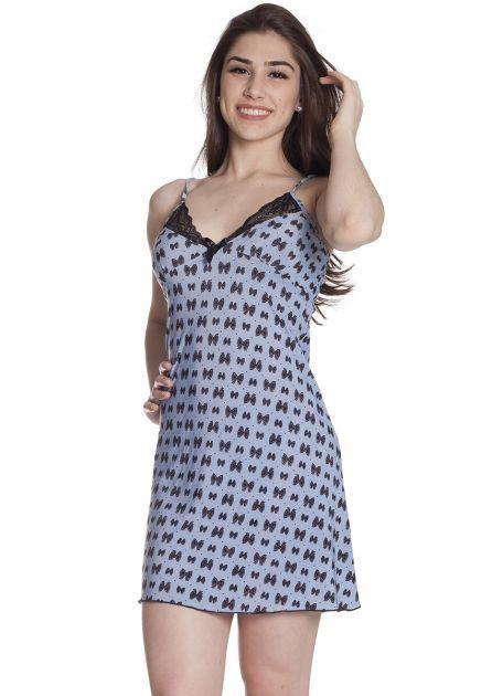 Camisola Feminina Plus Size Liganete Estampada com Detalhes em Renda Laços