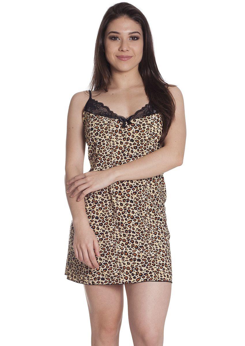 2c5938288 Camisola Feminina Plus Size Liganete Estampada Com Renda Tigresa na ...