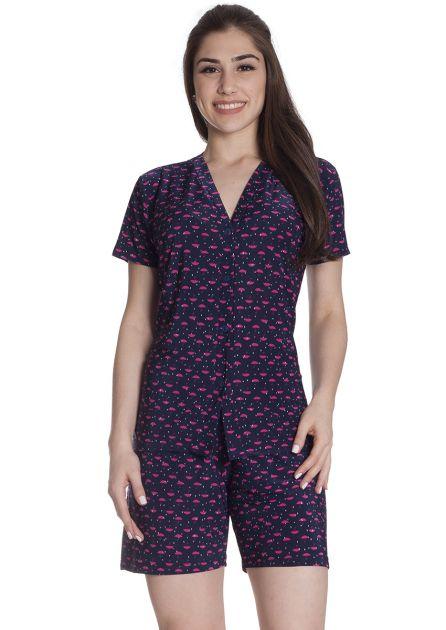 Pijama Feminino Aberto em Liganete Estampado com Bermuda Guarda Chuva