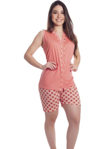 Pijama Feminino Aberto Malha Estampa Variada Mila