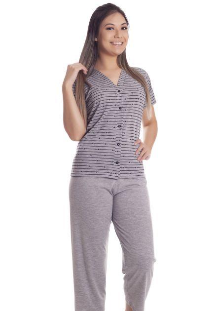 Pijama Feminino Aberto Malha Estampada Lolo