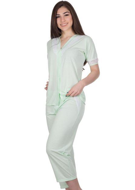 Pijama Feminino Aberto Malha Lisa Renda Gabi
