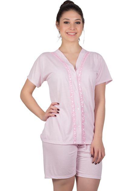 Pijama Feminino Aberto Passa Fitas Malha Lisa Nena
