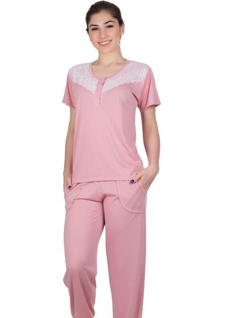 Pijama Feminino Calça Longa Malha Lisa Renda Priscila
