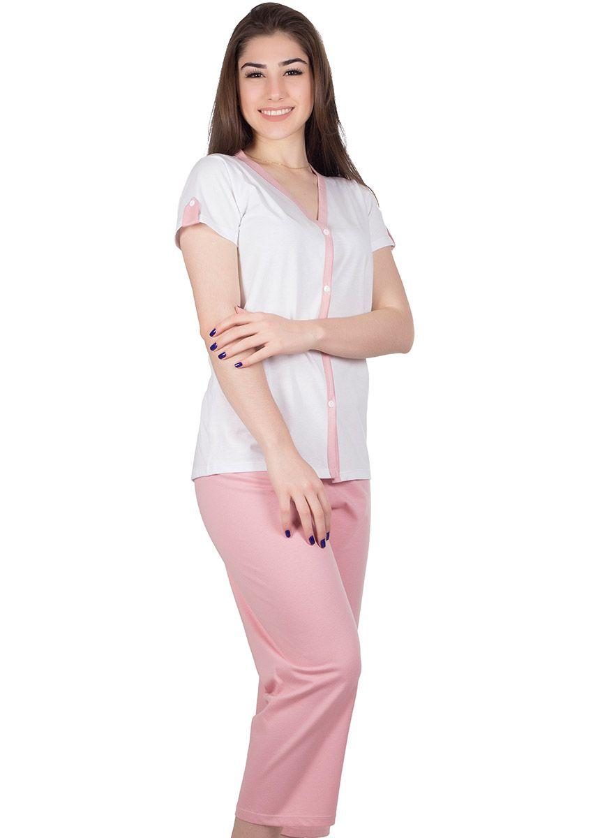 48a0fcc34db40e Pijama Feminino Capri Aberto Algodão Liso Ivanna