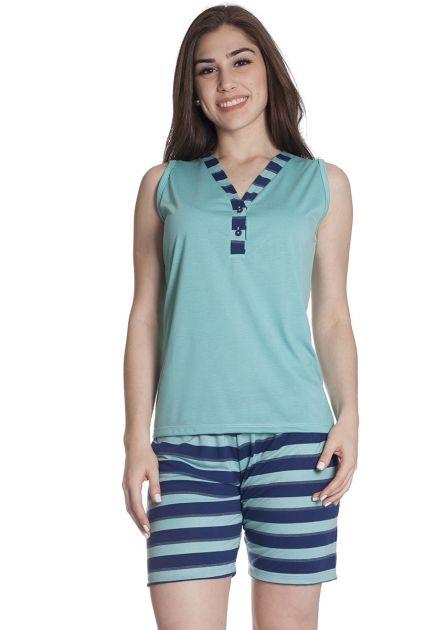 Pijama Feminino Curto com Bermuda e Regata em malha Listrada Colorida