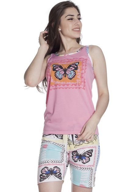 Pijama Feminino Curto com Bermuda Malha Estampa Borboleta