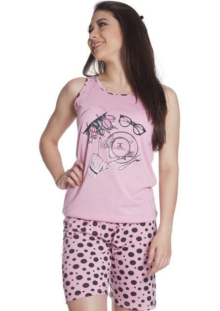 Pijama Feminino Curto com Bermuda Malha Estampada Poá