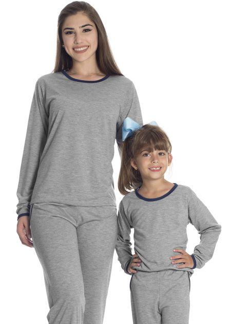 Pijama Feminino Família Longo Malha Mescla Liso