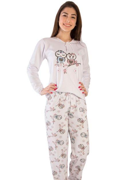 Pijama Feminino Flanelado Corujinhas