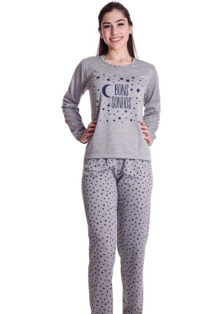 Pijama Feminino Flanelado Longo Estampado Nuvem