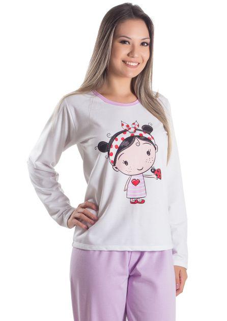 Pijama Feminino Flanelado Longo Lindinha