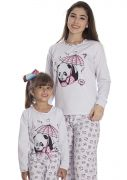 Pijama Feminino Flanelado Longo Mãe e Filha Estampa Panda