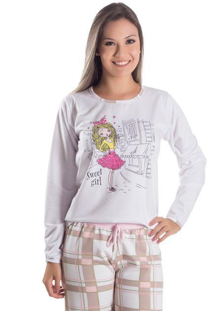 Pijama Feminino Flanelado Longo Sweet Girl