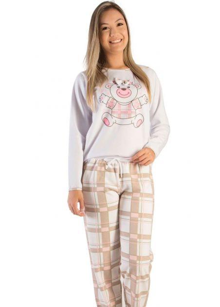 Pijama Feminino Flanelado Ursinho Fofinho