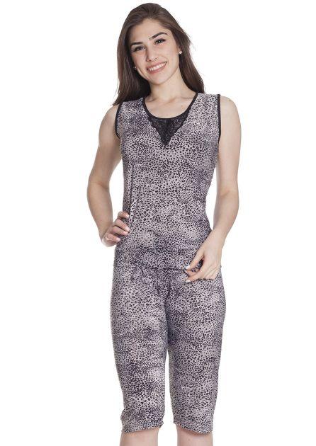 Pijama Feminino Liganete com Calça Pescador e Regata Renda Oncinha