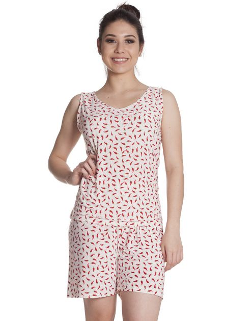 Pijama Feminino Liganete Estampada com Bermuda e Blusa Regata Pimenta