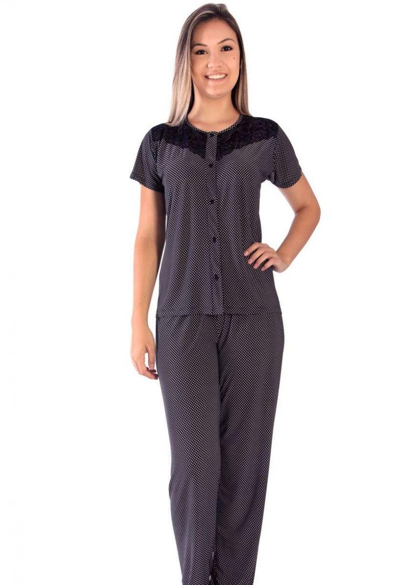 ef2a512f754e16 Pijama Feminino Liganete Estampada Ônix