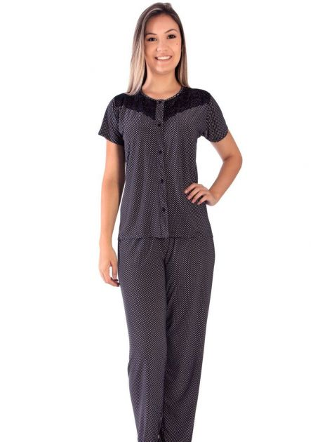 Pijama Feminino Liganete Estampada Ônix
