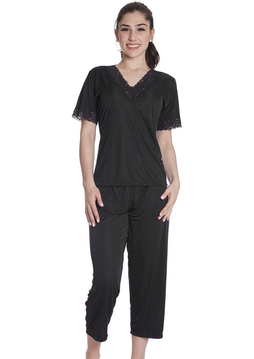 465f9a785c00ca Pijama Feminino Liganete Poliamida com Renda e Calça Capri Quartzo Negro