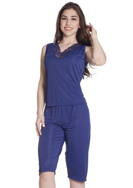 Pijama Feminino Liganete Poliamida com Renda e Calça Pescador Ametista