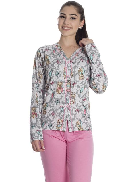 Pijama Feminino Longo Aberto Calça Malha Lisa e Blusa Estampa Colorida Gatinhos