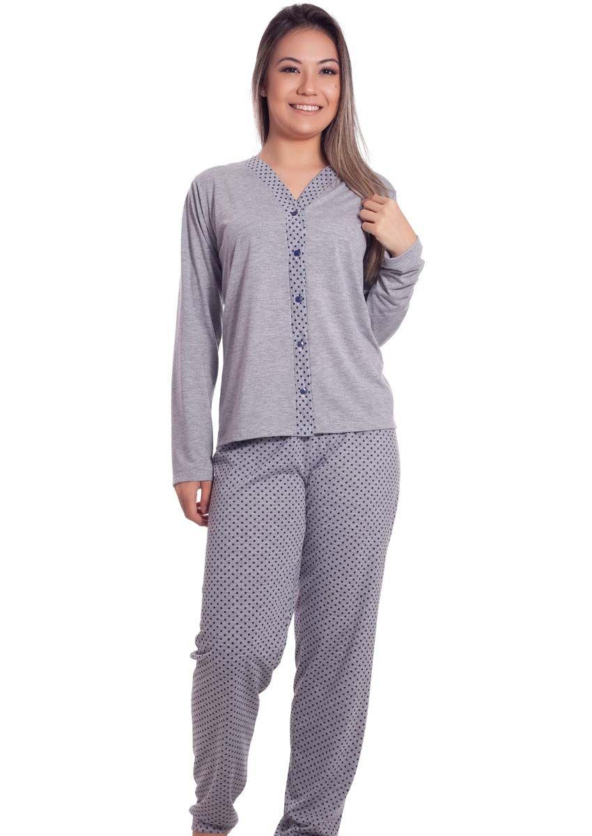 f659298f1 Pijama Feminino Longo Aberto Calça Poá Line na Amora Doce