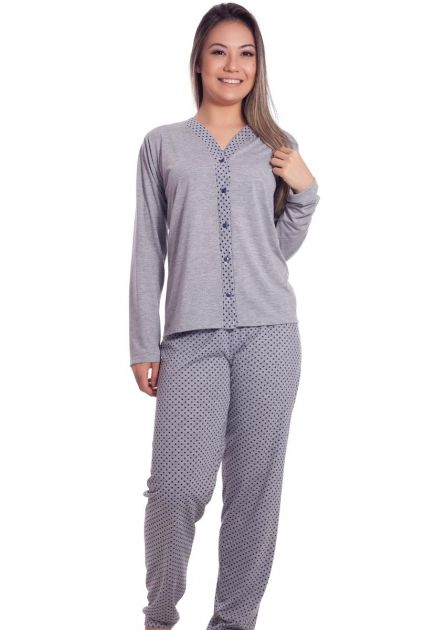 Pijama Feminino Longo Aberto Calça Poá Line