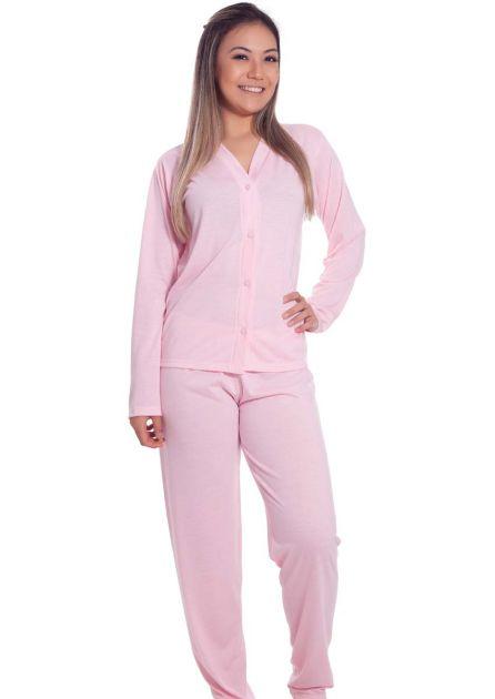 Pijama Feminino Longo Aberto Malha Lisa Clássico