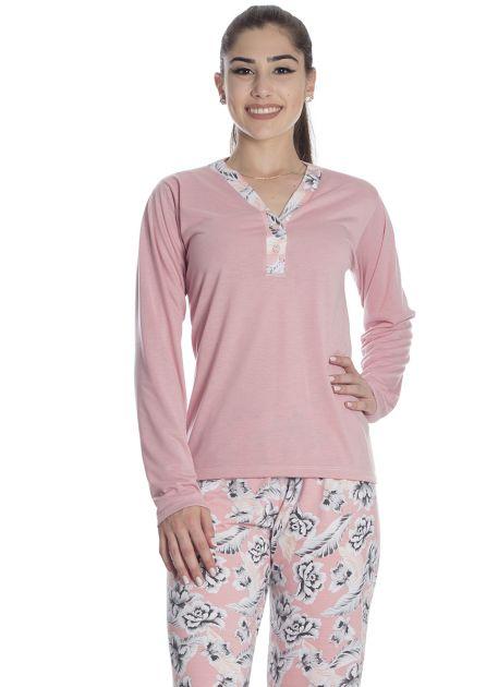 Pijama Feminino Longo Calça em Malha Estampada e Blusa Lisa Lila