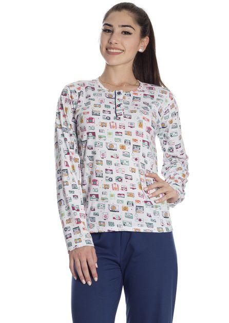 Pijama Feminino Longo Calça Lisa e Blusa Estampa Fotos