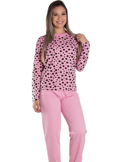 Pijama Feminino Longo Fechado Flanelado Blusa Poá Olívia