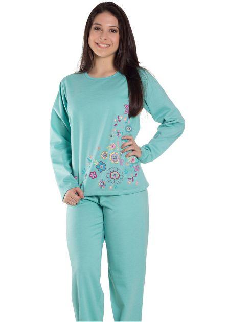 Pijama Feminino Longo Fechado Liso com Estampa Floral Tita