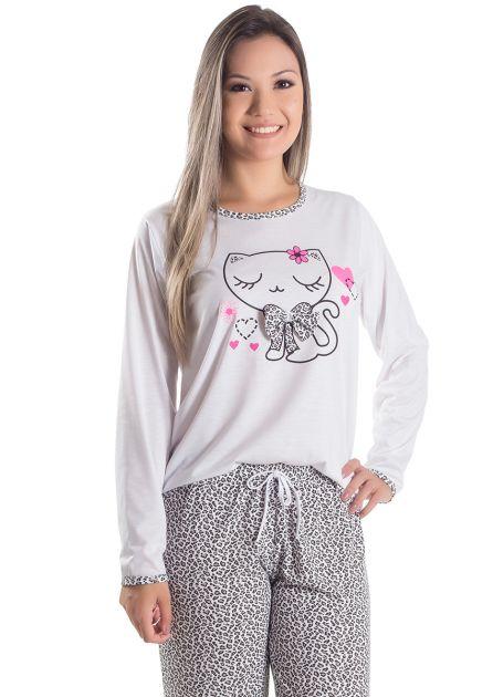 Pijama Feminino Longo Gatinha