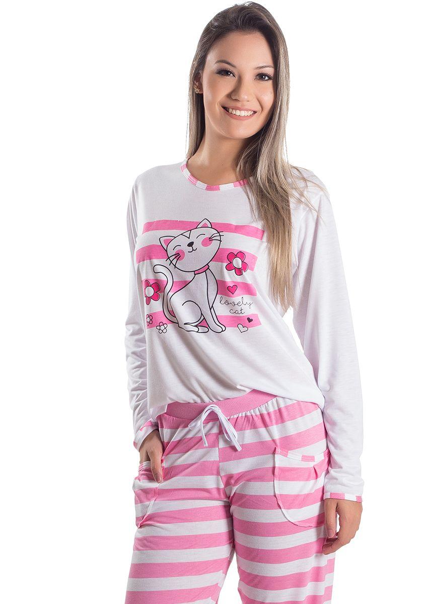 103068be3b13 Pijama Feminino Longo Lovely Cat na Amora Doce
