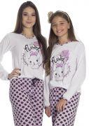 Pijama Feminino Longo Mãe e Filha Calça Bolinha Flower