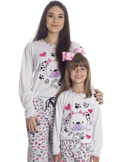 Pijama Feminino Longo Mãe e Filha Malha Estampa Little Dog