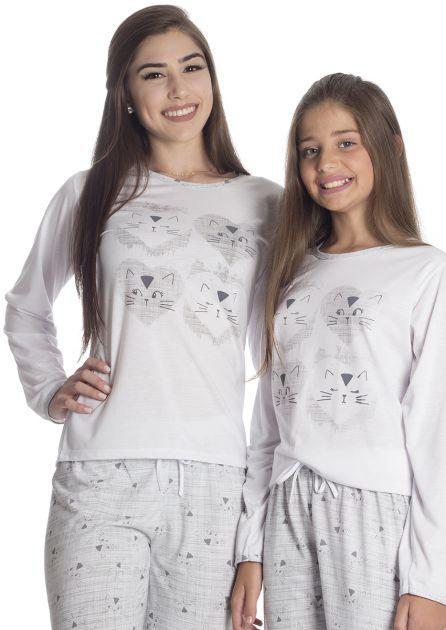 Pijama Feminino Longo Mãe e Filha Malha Estampada Gatinhos
