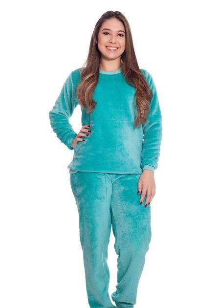 Pijama Feminino Longo Mãe e Filha Peluciado Liso Encanto