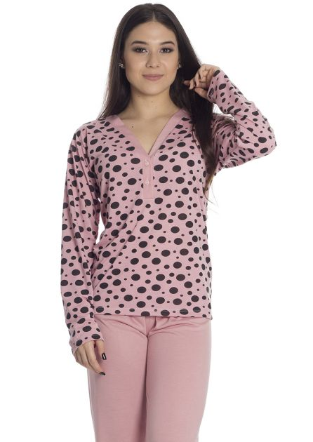 Pijama Feminino Longo Malha Calça Lisa e Blusa Poá