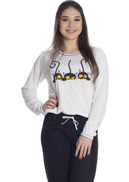 Pijama Feminino Longo Malha Calça Preta Estampa Gatinhos