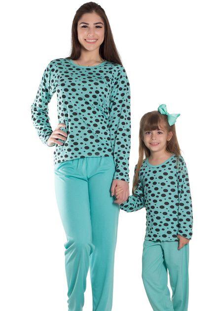 Pijama Feminino Longo Malha Estampa Colorida Bolinha Grande
