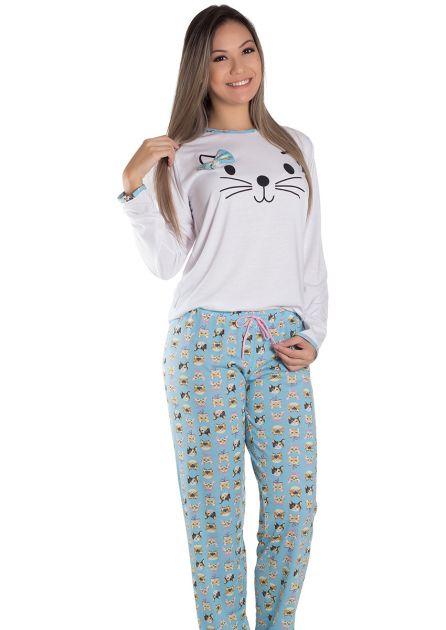 Pijama Feminino Longo Malha Estampada Única Gatinhos