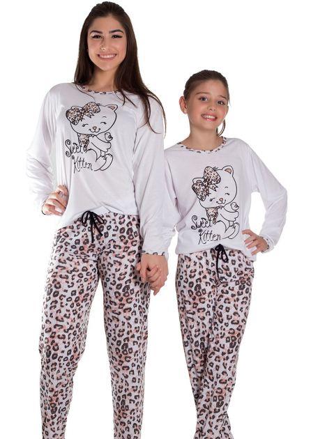 Pijama Feminino Longo Malha Estampada Única Oncinha
