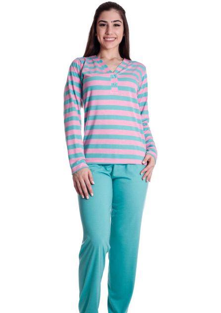 Pijama Feminino Longo Malha Lisa Colorida Detalhes em Listras Mila