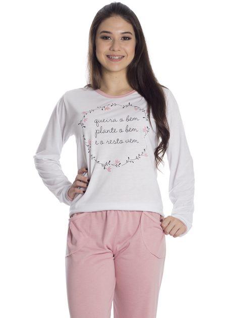 Pijama Feminino Longo Malha Lisa com Estampa Unica
