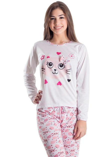 Pijama Feminino Longo Miau