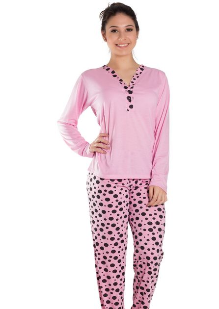 Pijama Feminino Longo Semi-Aberto com blusa Lisa e Calça Estampa Poá Élen