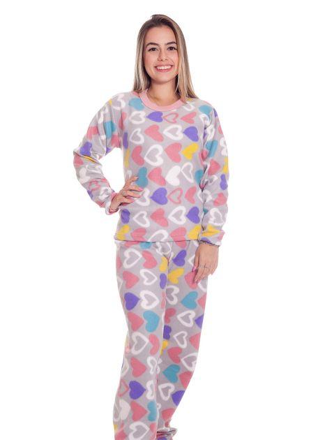 Pijama Feminino Longo Soft Plush Estampas Variadas Lali